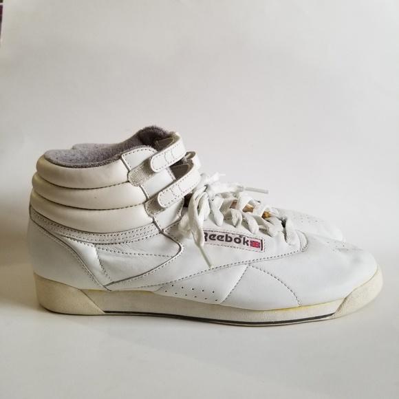 12f7218e7 Vintage Reebok Freestyle Hi Top White Sneakers 10.  M_5cb0b8bc2f4831eae4c5de0e